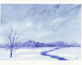 Original watercolor painting  SFA greeting card FROZEN landscape