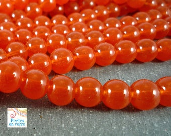 30 round beads, glass effect opalescent color brick, 8mm, (pv225)
