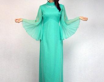70s Boho Dress Sheer Long Sleeve Maxi Bohemian Bell Sleeve Green Grecian Gown Empire Waist 1970s Festival Vintage Hippie - Medium M