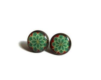 LOTUS flower earrings - Green flower studs- green flower earrings - mint green stud earrings - flower earrings - flower stud earrings - cute