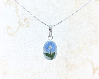 """Forgetmenot Necklace, Real Forgetmenot Flower, Miniature Forgetmenot Pendant Sterling Silver, Silver Plated Chain 18"""""""