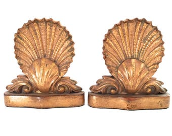 Vintage Gold Borghese Shell Bookends - Vintage Gold Bookends - Italian Bookends - Hollywood Regency Gold Bookends - Ornate Gold Bookends
