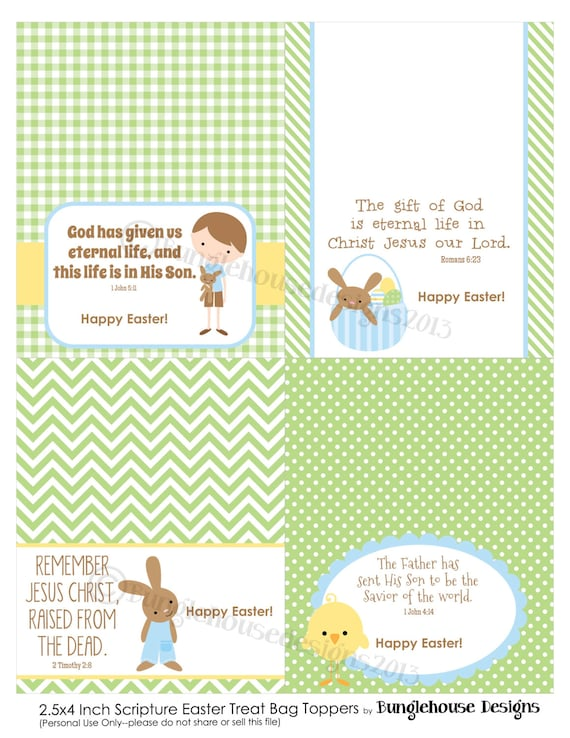 Easter treat bag toppers for kids christian easter easter treat bag toppers for kids christian easter scripture bible verse goody bag labels for boys instant download diy printable negle Image collections