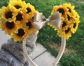 Sunflower Floral Disney Ears