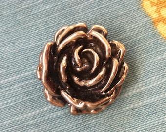 Stylish Vintage Sterling Silver 3-D Polished Rose Pendant