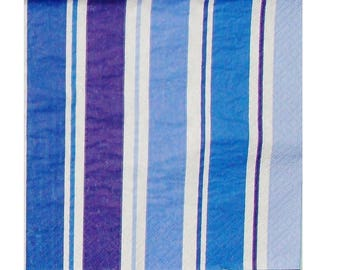 Set of 3 napkins HOD026 blue and white stripes