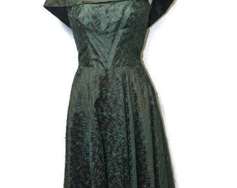 1950's Handmade Satin Brocade Gown - Embroidered Off The shoulder Party Dress with Full Skirt and Tulle Lining
