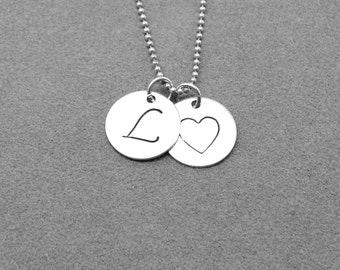 Initial Necklace, Sterling Silver Jewelry, Letter L Necklace, Charm Necklace, Monogram Necklace, Letter L Pendant, L, All Letters Available