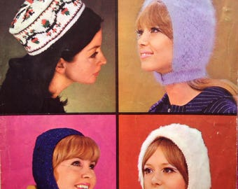 Vintage 1960s Patons (no. 9610) Knitting Pattern for four Different Hats, Headgear, Bonnets, Hood, Snood.