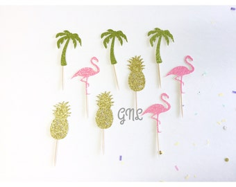 12CT Flamingo Pineapple Palm Tree Cupcake Topper, Tropical Party, Birthday