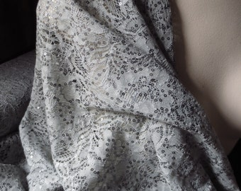 Taupe Gray Beaded Lace Fabric for GRAD, Mother of the Bride, Bridal, Costume Design
