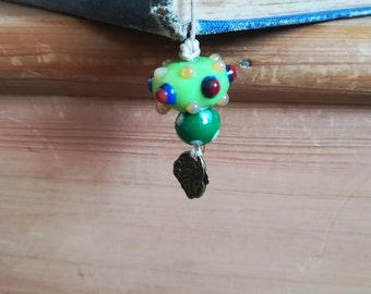 Beautiful nature-themed beaded bookmark in green