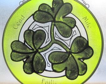 "Hand Painted Celtic Art Glass  Irish Shamrock Suncatcher Ornament   Size 7"""
