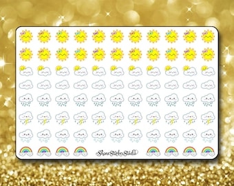 2 Dollar Tuesday Kawaii Weather Stickers - Planner Stickers Erin Condren Life Planner Cute Stickers Sunny Cloudy Rainbow ECLP Happy Planner