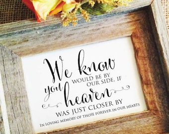 Wedding Memorial sign in loving memory sign wedding memorial table sign Rustic Wedding Sign Forever in our hearts sign (Frame NOT included)