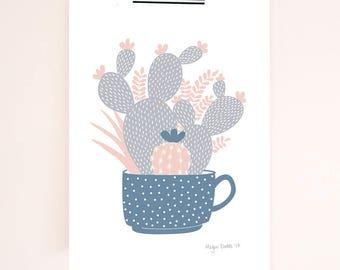 Cacti in a Teacup | Cactus Art Print