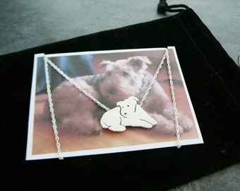 Custom Pet Portrait TaGette Necklace .. Sterling Silver Dog silhouette Jewelry Memoralize Airedale Keepsake