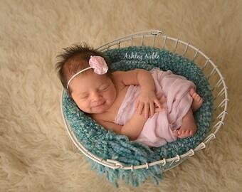 Baby headband, Baby Pink headband, infant headband, Mini Flower Trim Headband