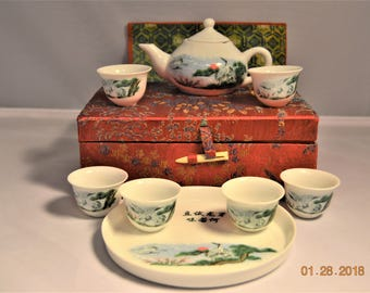 Vintage Children's Porcelain Tea Set in Red Silk Box,8 Piece Play,Toy,Miniature Display,original  Presentation Case,Japanese Crane or Tancho