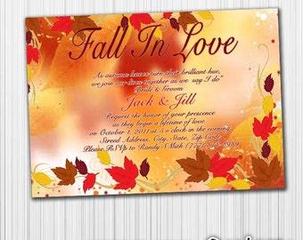Fall In Love Wedding Invitation, Fall Wedding, Autumn, Printable, Digital Custom File