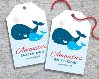 Personalized Whale Baby Shower Favor Tags - DIY Printable - Baby Boy (Digital File)