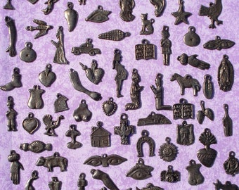 MIlagros Charms 50 Antiqued Silver Assorted  Mexican Milagros Charms Exvotos