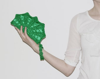 Emerald Green Bridesmaid Clutch Bag, Bridesmaid Gift, Lace Bridal Gift for Her, Statement Clutch, Hands Free Clutch, Green Wristlet Bag