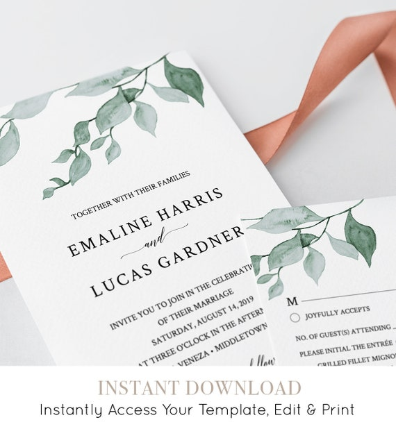 Watercolor Greenery Wedding Invitation Template, 100% Editable, INSTANT DOWNLOAD, Printable Delicate Leaves Invite, RSVP & Details #019