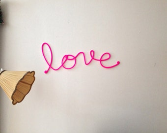 "Soft Neon Sign ""love"" crochet cursive wire wall word"