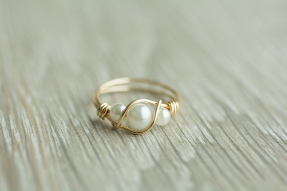 Handmade 3 Pearls Ring Gold Or Silver Wrapped Wire Ring 14k