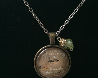 Handmade religious footprints necklace with charm