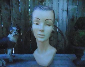 Vintage Art Deco Chalkware/Plaster Women's Head Mannequin Hat Display