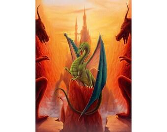 Dragon Sentinel. Original fine art print of a dragon guarding the way to a distant castle