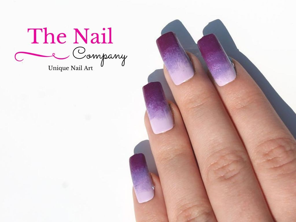 Set of Purple Lilac Fake Nails Handpainted Nail Art Shaded