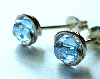 Blue Crystal Quartz Studs Tiny Faceted Stud Earrings Wire Wrapped in Sterling Silver Post Earrings Studs