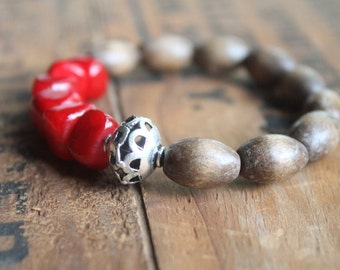 St Maarten Artisanal Stretch Stacking Mala Bracelet with Vintage Wood Beads - Hiking Mountain Climbing Explorer Chic