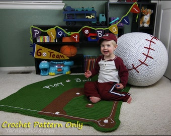 Baseball Bean Bag, Baby Blanket, Bunting and Pennant - CROCHET PATTERN