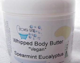 Spearmint Eucalyptus Vegan Body Butter, Sweet Almond and Shea Lotion
