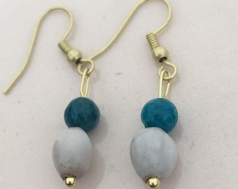 Job's tears, apatite and gold earrings