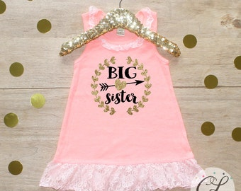 Big Sister Dress / Baby Girl Clothes Big Sister Outfit Matching Little Sister Sibling Set Toddler Girl Pregnancy Announcement Baby Shower 03