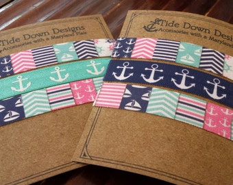 Preppy Patchwork & Anchor Elastic Hair Ties 3 pack, Anchors, Sailboats, Chevron, no crease, no tug Choose your favorite set
