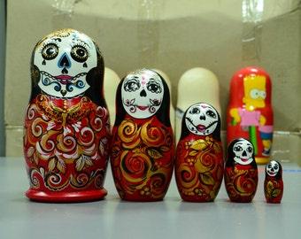 Russian, Mexican Matryoshka Babushka, Wooden nesting dolls, Skull, handmade, Free Shipping,  La Calavera Catrina, Dia de los muerteros Doll