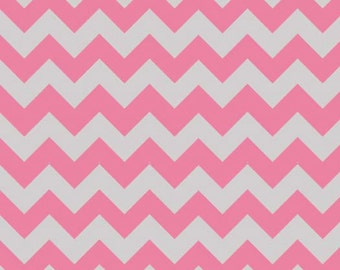 SALE-- Small Chevron-- Hot Pink/Gray--One Yard- Riley Blake