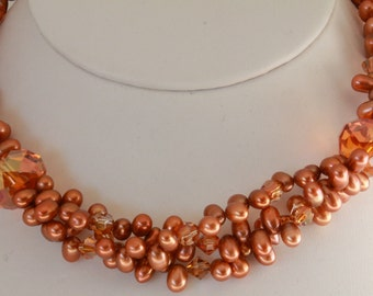 Copper freshwater pearl and Swarovski crystal twisted 3 strand choker