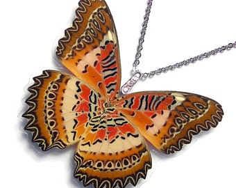 Real Butterfly Wing Necklace / Pendant (WHOLE Cethosia Biblis aka The Red Lacewing Butterfly - W112)