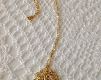 filigree gold filled necklace, gold filled necklace, vintage necklace, elegant necklace, for her, mothers day