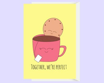 Cute Tea and Biscuit Love Card / Cute Anniversary Card / Funny Anniversary / Funny Love Card / Boyfriend Card / Girlfriend Card / Husband