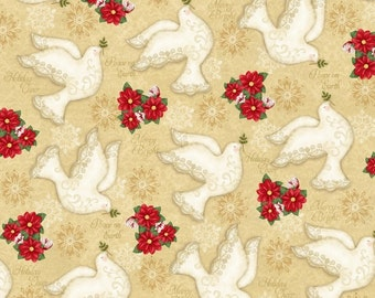 Winter Bliss 3246-44 Doves on Cream Cotton Fabric- Quilting and Sewing~1/2 yard cuts