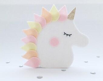 Wooden figure, Unicorn, Pink, Medium