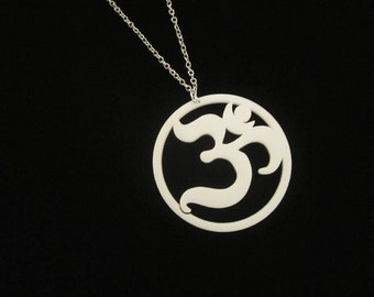Large Ohm Pendant Laser Cut White Acrylic on 24' Silver Plated Chain - 2.25 inch White Acrylic Om Symbol Necklace